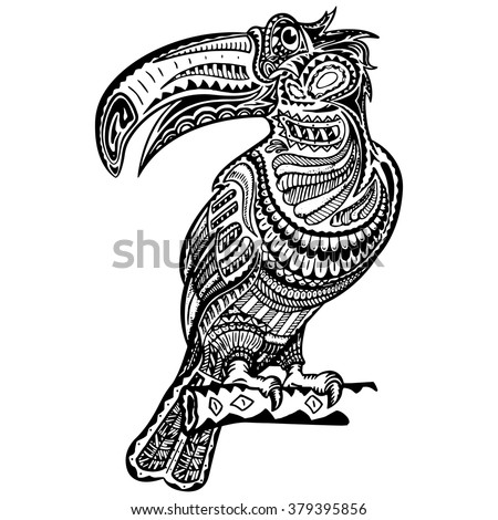 hand drawn toucan zentangle style coloring stock vector 379395856 shutterstock. Black Bedroom Furniture Sets. Home Design Ideas