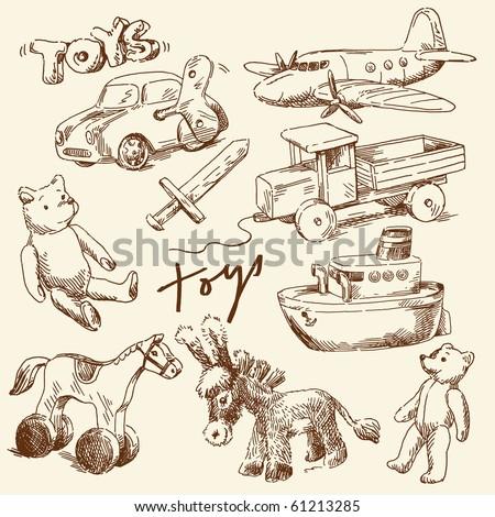 hand drawn toys for boys - stock vector