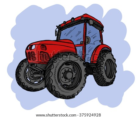 Hand drawn tractor on white background. Vector illustration.