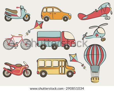 hand-drawn transportation icon set - vector illustration. eps 8 - stock vector