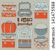 Hand drawn Travel bags vector seamless pattern - stock vector