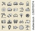 Hand drawn travel icons - stock vector