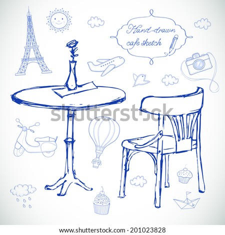 Hand drawn travel icons. Vector sketch illustration. Summer cafe. - stock vector
