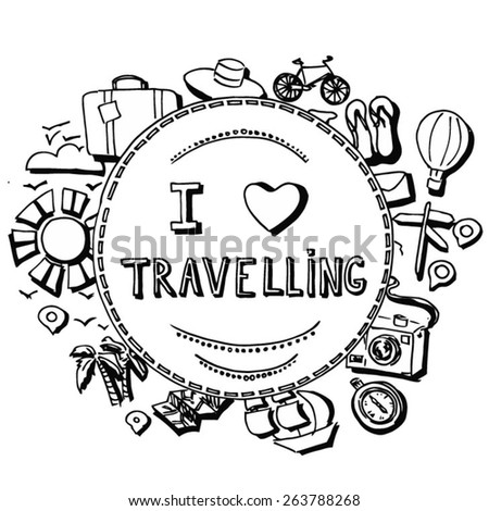 hand-drawn travel illustration  - stock vector