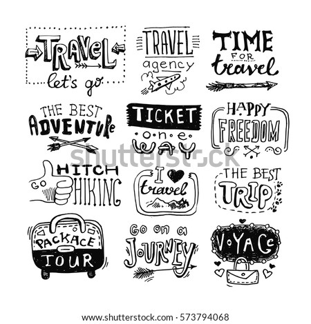 hand drawn travel lettering drawing by stock vector royalty free