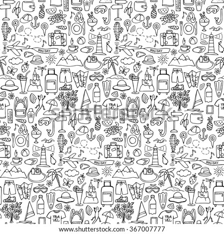 Hand Drawn Travel Seamless Pattern Vector Illustration Of Doodle Tourism Wallpaper