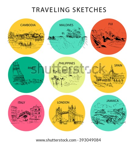 Hand drawn traveling landscape sketch. Nature, architect picture. Touristic sight seeing. Print design, book, article illustration. Europe, Asia, America traveling. Memory postcard, invitation design. - stock vector