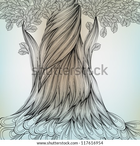 Hand Drawn Tree, EPS10 Vector background - stock vector