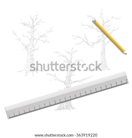 hand drawn trees isolated on white - stock vector