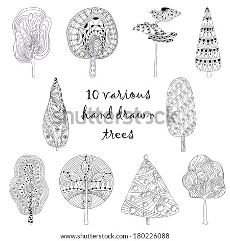 Hand drawn trees isolated, sketch, doodle style trees set - stock vector