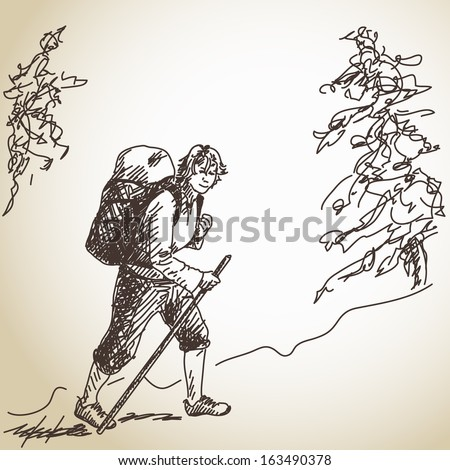 Hand drawn trekking woman with backpack Vector - stock vector