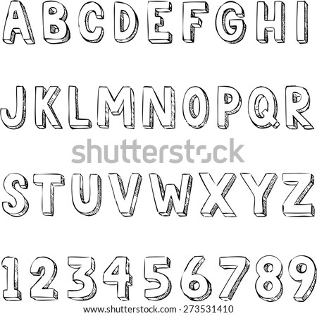 Hand drawn trendy alphabet typography with letters and numbers - stock vector