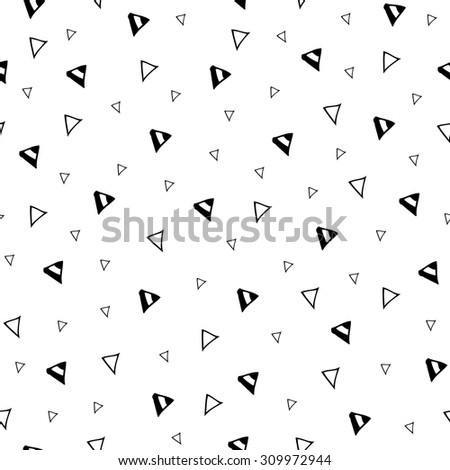 Hand drawn triangle geometric seamless pattern. Hand sketched black and white abstract simple ornament with randomized geometric elements - stock vector