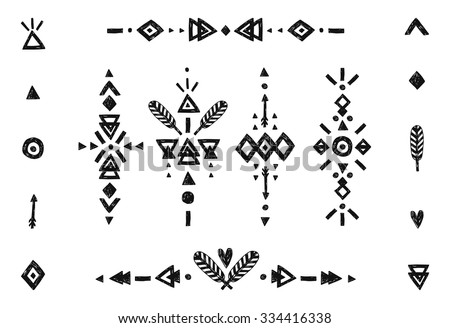 Hand drawn tribal collection with stroke, line, arrow, decorative elements, feathers, geometric symbols ethnic style. Flash Tattoo isolated on white background - stock vector