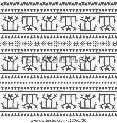 Hand drawn tribal seamless pattern with a stylized man and geometric ornament (triangles, archaic symbols of the sun). Monochrome. Every border also possible use separately as an endless border.