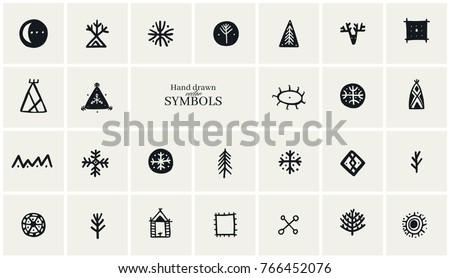 Hand Drawn Tribal Symbols Collection Logo Stock Vector 766452076