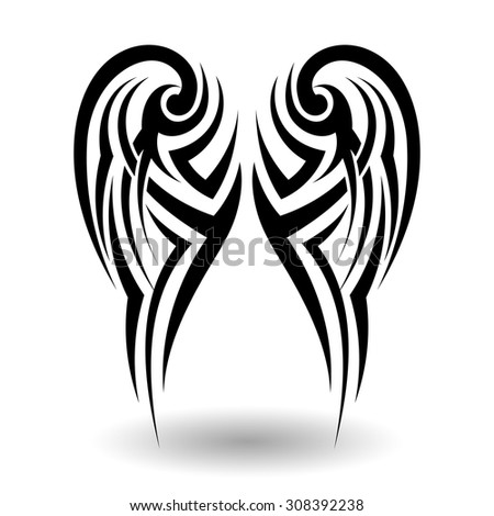 Hand Drawn Tribal Tattoo in Wings Shape - stock vector
