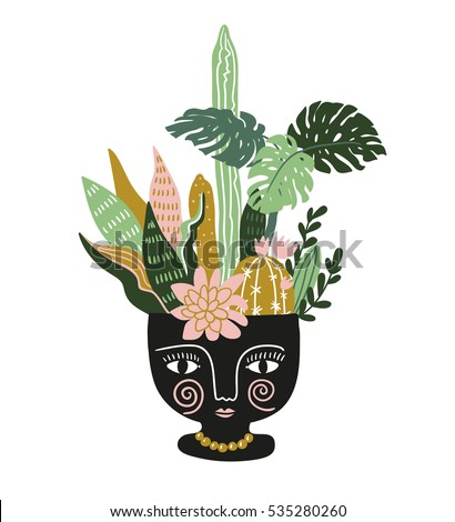 hand drawn tropical house plants in the ethnic ceramic pot scandinavian style illustration modern