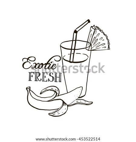 hand drawn tropical juice in glass, exotic fresh, fruit smoothie, banana and pineapple beverage, ink drawing vector elements