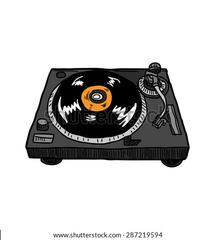 hand drawn turntable - stock vector
