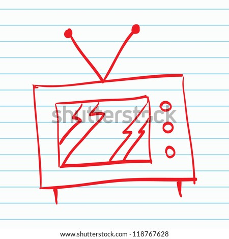 Hand drawn TV - stock vector