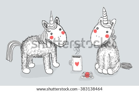 Hand drawn two funny colorful unicorn with cup of hot tea and sweets - stock vector