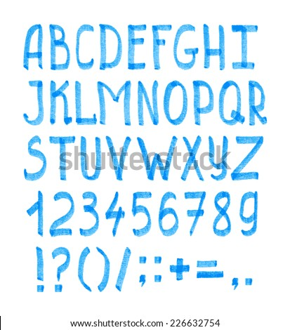 Hand-drawn type with blue alphabet, numbers and punctuation in vector - stock vector