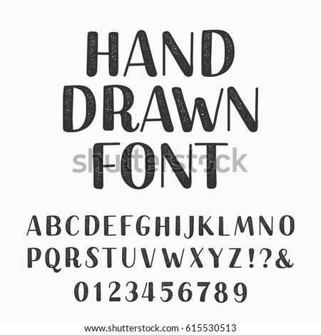 Hand Drawn Typeset Alphabet Vector Font Type Letters And Numbers On A Dark Background