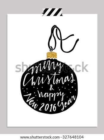 Hand drawn typography card. Merry christmas and happy new year greetings hand-lettering isolated on white  background. Vector illustration. - stock vector