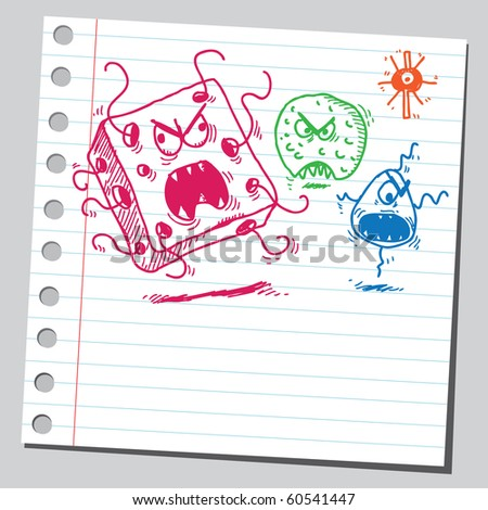Hand drawn ugly germs - stock vector