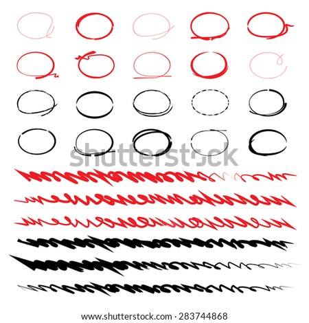 hand drawn underline and circle set for highlight text - stock vector