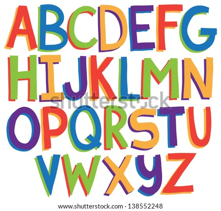 Hand drawn uppercase vector alphabet letters