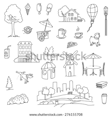 Hand drawn Urban city set of various items and locations, park, vector illustration - stock vector