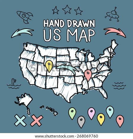 Hand drawn US map on chalkboard vector illustration - stock vector