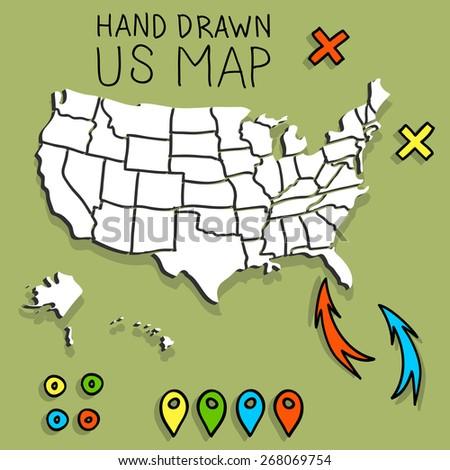 Hand drawn US map vector illustration - stock vector