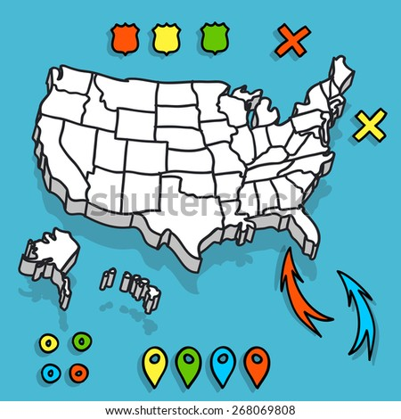 Hand drawn US map with map pins and arrows vector illustration - stock vector