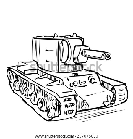 Hand drawn USSR Heavy tank KV 2