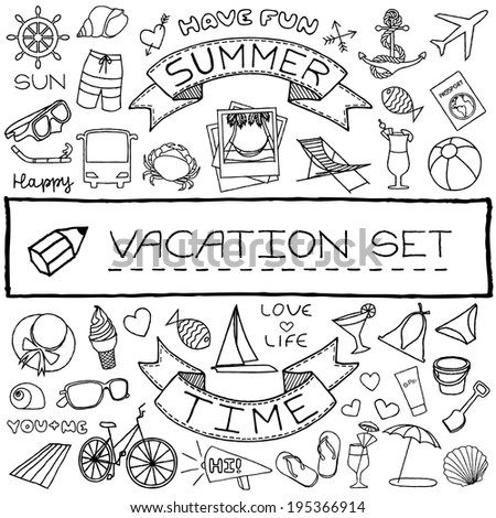 Hand drawn vacation icons set. Vector illustration. - stock vector