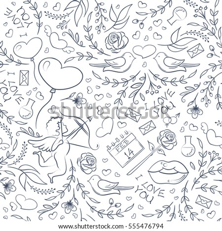 Hand drawn Valentine's Day seamless pattern with sketchy holiday symbols