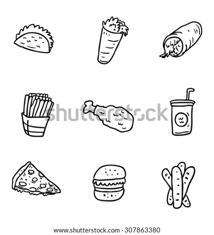 hand drawn various food icon