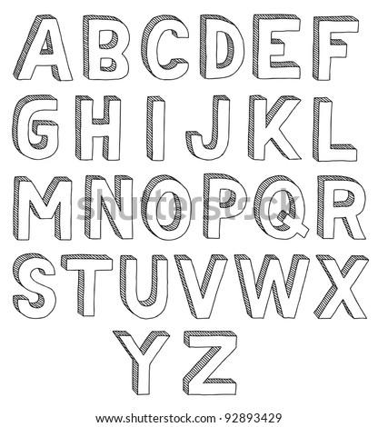 Hand drawn vector abc, font, 3D, alphabet - stock vector