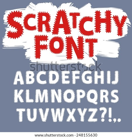 Hand drawn vector ABC letters.Scratchy funny font font for your design. - stock vector