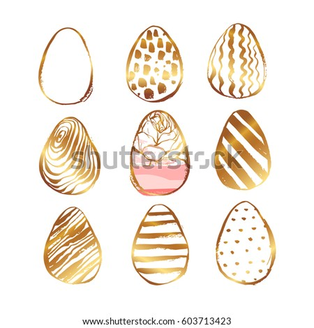 Hand drawn vector abstract Easter brush painted elegant eggs collection set with floral motif in golden colors isolated on white background.Easter spring decoration elements.