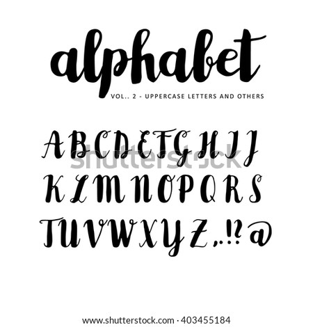 Hand drawn vector alphabet. Brush script, font. Isolated letters written with marker, ink. Calligraphy, lettering. - stock vector