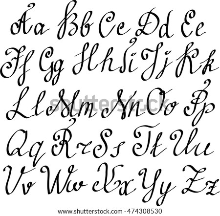 Hand Drawn Vector Alphabet Calligraphy For Wedding Invitations