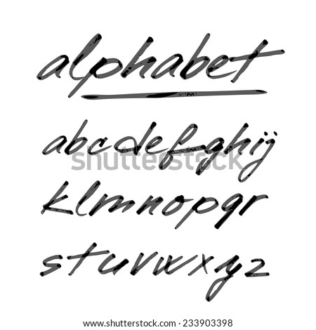 Hand drawn vector alphabet, font, isolated letters written with marker or ink - stock vector