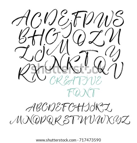 Hand Drawn Vector Alphabet Calligraphy Letters Of The Written With
