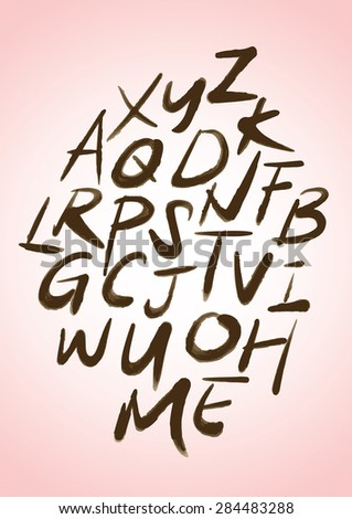 Hand drawn vector alphabet letters - stock vector