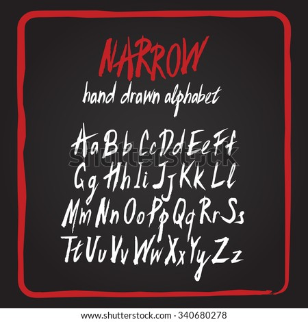 Hand drawn vector alphabet set. Brush painted rough letters. White chalk-like type letters on black board. Modern handwritten font in upper and lower case versions. Elements isolated for easy editing - stock vector