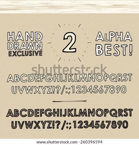 hand drawn vector alphabet vintage collection - stock vector